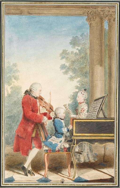 Mozartovi při vystoupení. Otec Leopold Mozart často vystupoval společně se svými zázračnými dětmi, Nannerl a Wolfgangem Amadeem.
