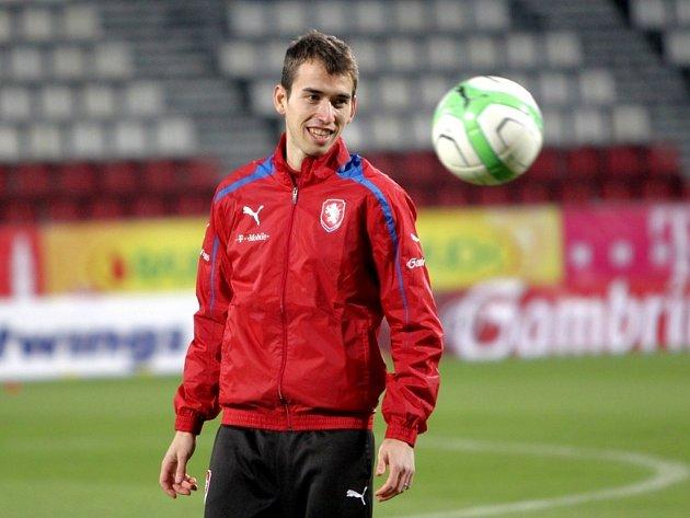 Tomáš Hořava na tréninku fotbalové reprezentace.