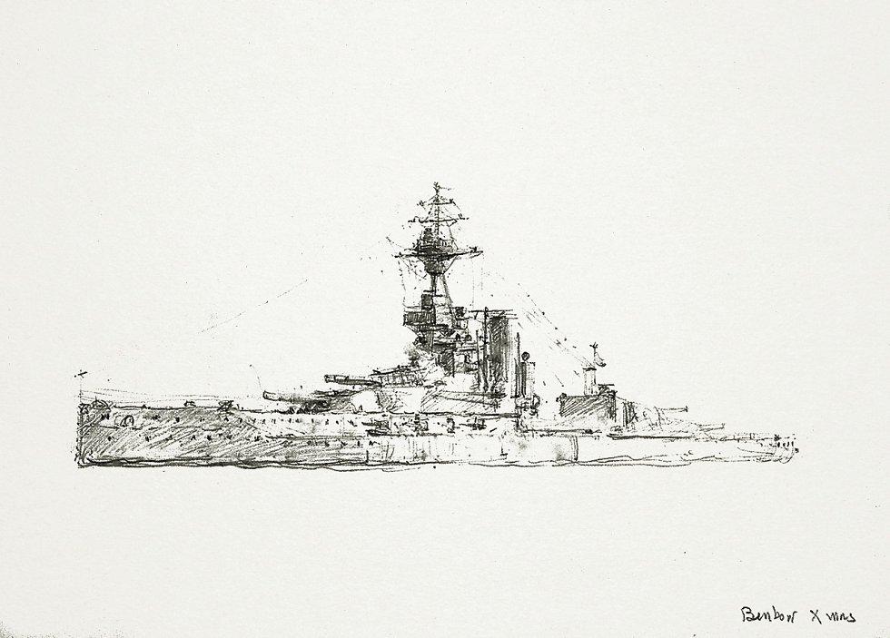 Britská válečná loď Benbow o Vánocích roku 1918, jak neznámý autor obrázku zaznamenal přímo na kresbě vpravo dole. V jejím lanoví lze postřehnout vánoční stromky