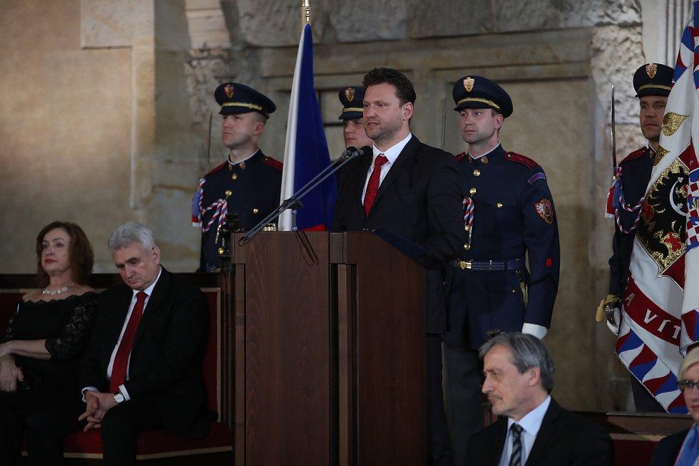 Předseda Poslanecké sněmovny Radek Vondráček hovoří na inauguraci prezidenta Miloše Zemana