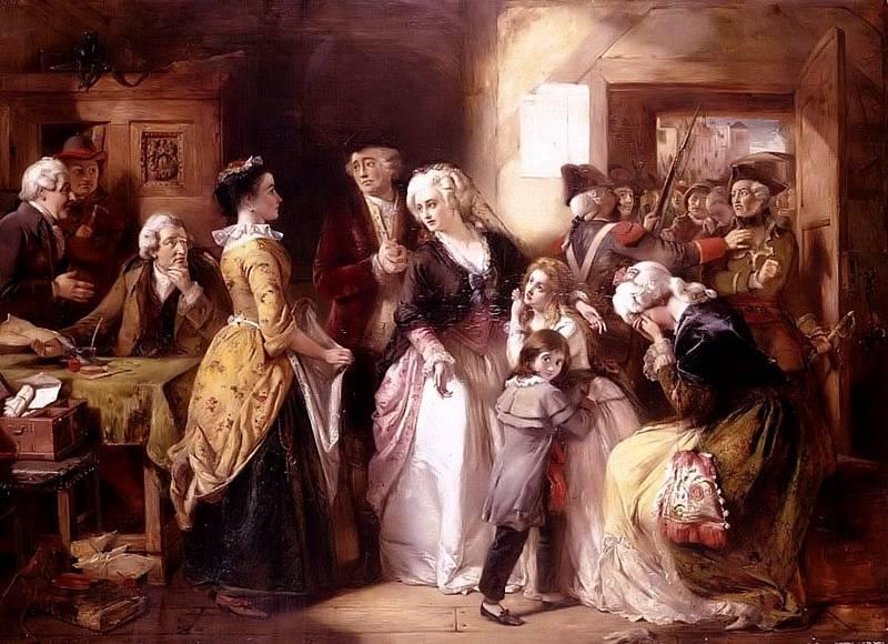 Zatčení Ludvíka XVI. a Marie Antoinetty ve Varennes. Král a královna, jejich děti i doprovod byli převlečení v poddanském oblečení. Autorem obrazu je Thomas Falcon Marshall. Foto: Wikimedia Commons, volné dílo