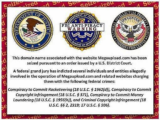 Zpráva FBI umístěná na adrese megaupupload.com