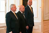 Oldřich Dědek, Marek Mora a Jiří Rusnok, guvernér ČNB