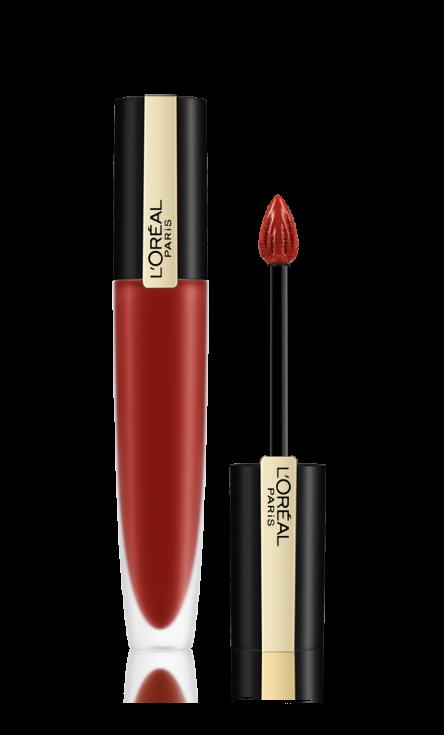 Sametový polibek: Tekuté rtěnky Rouge Signature mají velice lehké složení, takže rychle a snadno splynou se rty. Díky bohatým pigmentům dlouho vydrží, nevysušují rty a dodají jim matný, měkký a sametový vzhled.  Rouge Signature, L'Oréal, 300 Kč