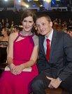 Biatlonista Ondřej Moravec s manželkou na slavnostním vyhlášení Sportovce roku.