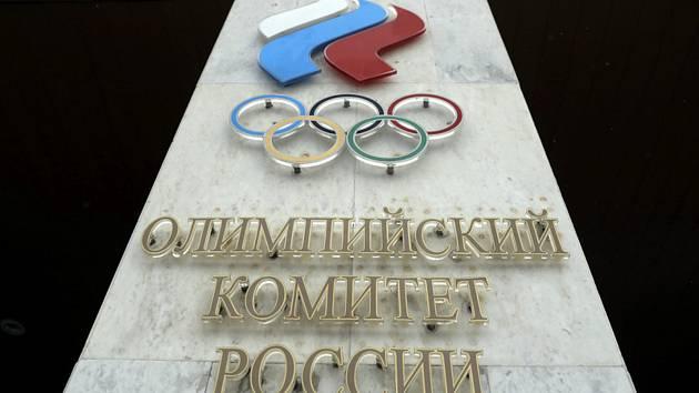 Logo Ruského olympijského výboru na sídle úřadu v Moskvě