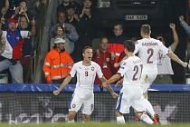 Bořek Dočkal (vlevo) se raduje s Davidem Lafatou (uprostřed) a Pavlem Kadeřábkem z gólu proti Nizozemsku.