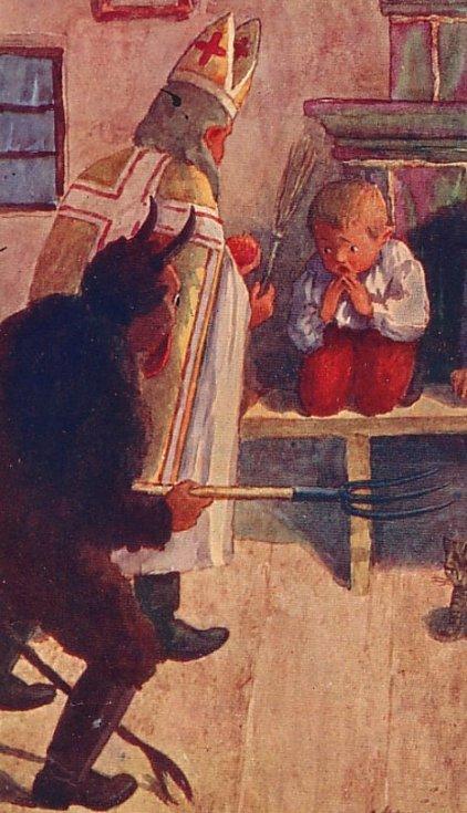 Svatý Mikuláš a krampus na pohlednici z roku 1900