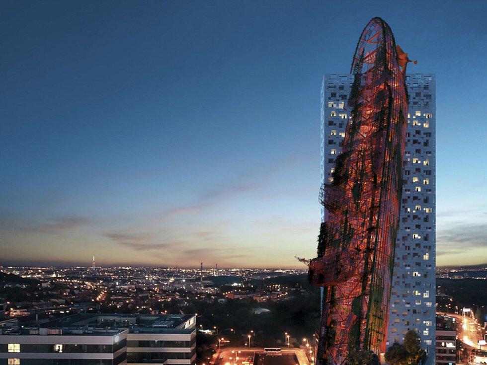 Nejvyšší budovu v Česku s názvem Top Tower (na vizualizaci) chce postavit developerská společnost Trigema v Nových Butovicích v Praze