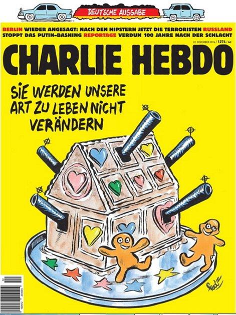 Německá verze francouzského satirického týdeníku Charlie Hebdo dnes vyšla skresbou, která zesměšňuje bezpečnostní opatření po pondělním útoku na vánoční trhy vBerlíně.