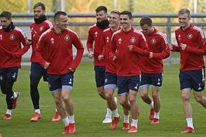 Trénink hráčů Sparty před utkáním 3. kola skupiny fotbalové Evropské ligy s Olympiquem Lyon.