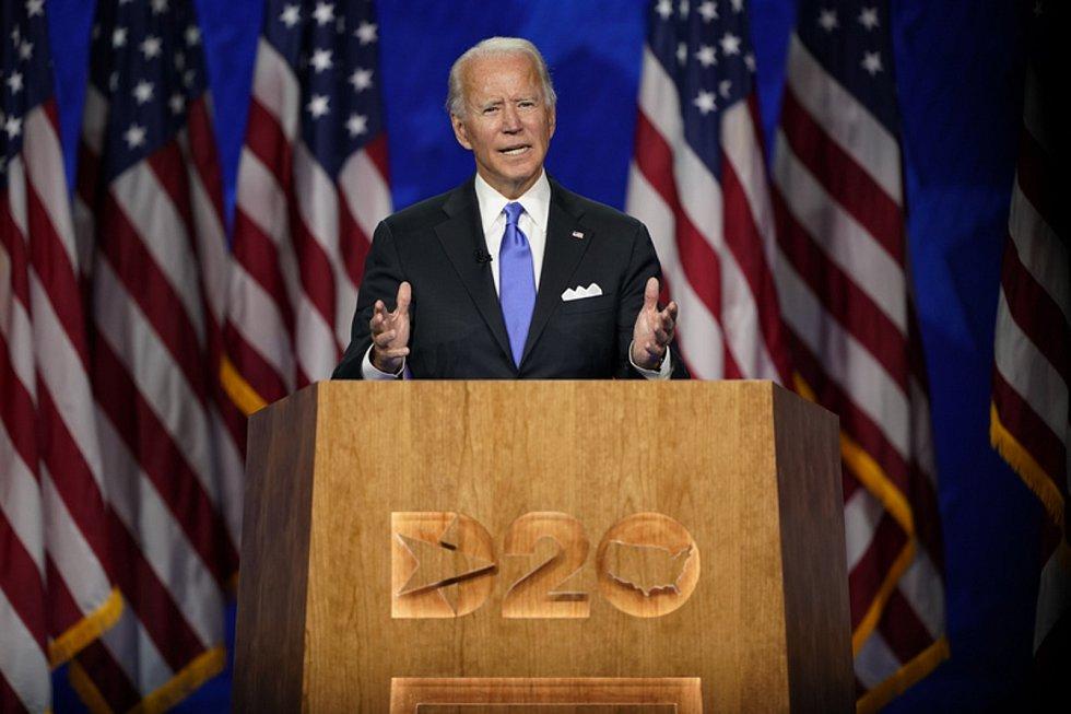 Demokratický kandidát na prezidenta USA Joe Biden v projevu na sjezdu demokratů, 20. srpna 2020