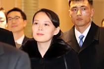 Kim Jo-čong, sestra severokorejského diktátora Kim Čong-una, po příletu do jihokorejského Inčcheonu