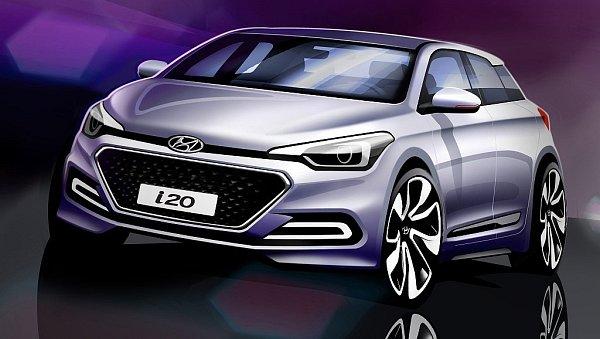 Skica nové generace Hyundai i20.