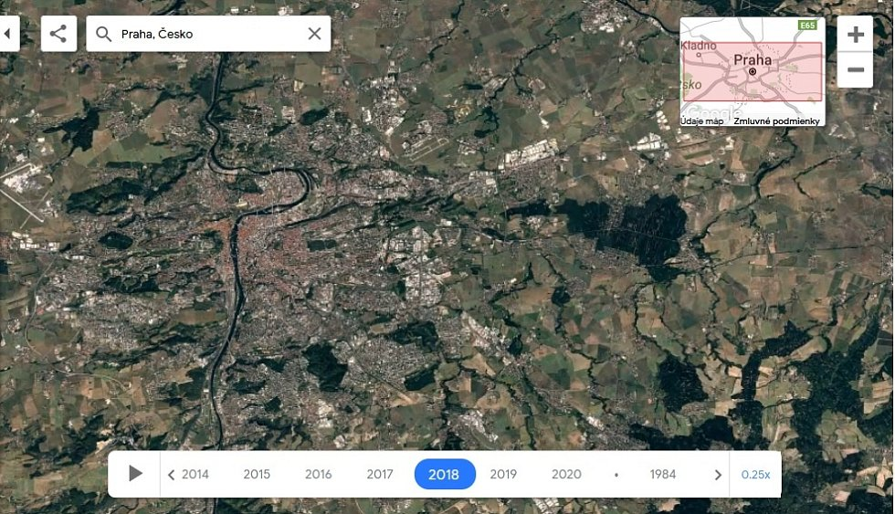 Nová aplikace Google Earth Timelapse umožňuje vidět proměnu planety v posledních čtyřiceti letech. Na snímku Praha, rok 2018.