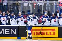 Radost hokejistů Slovenska na domácím MS.
