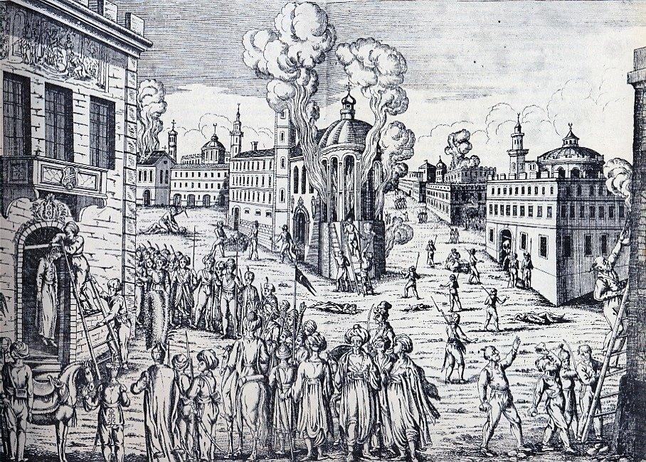 Po vypuknutí povstání rozpoutali Osmanští Turci teror proti řeckému obyvatelstvu. V dubnu 1821 popravili v Konstantinopoli řeckého patriarchu Jiřího V.