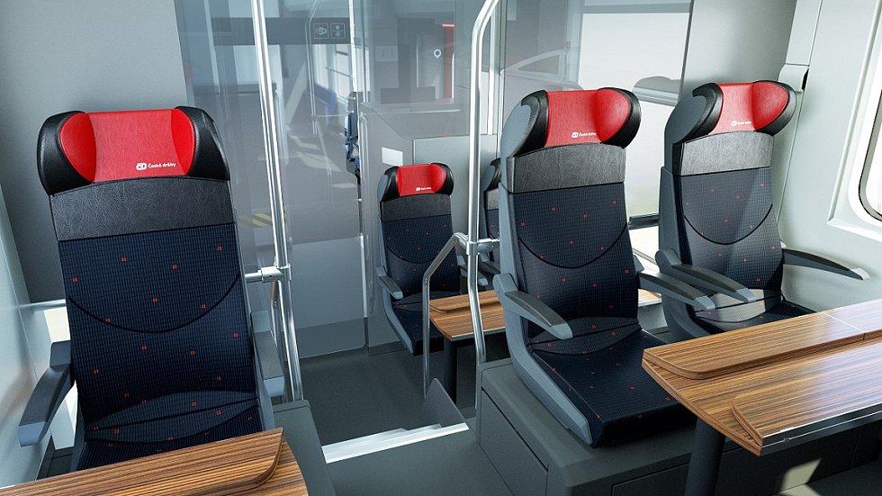 Interiér první třídy v novém RegioJetu.
