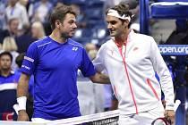 Roger Federer (vpravo) a Stan Wawrinka