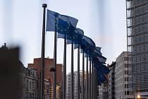 Vlajky Evropské unie před sídlem EU v Bruselu
