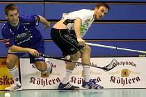 Florbalisté Vítkovic (v modrém) finále turnaje Fortuna Czech Open nevyhráli.
