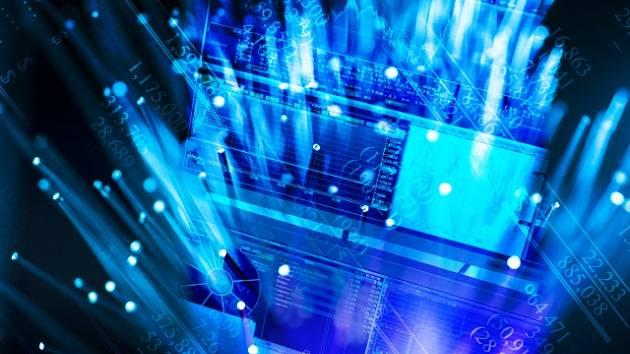 Hologram modré obrazovky