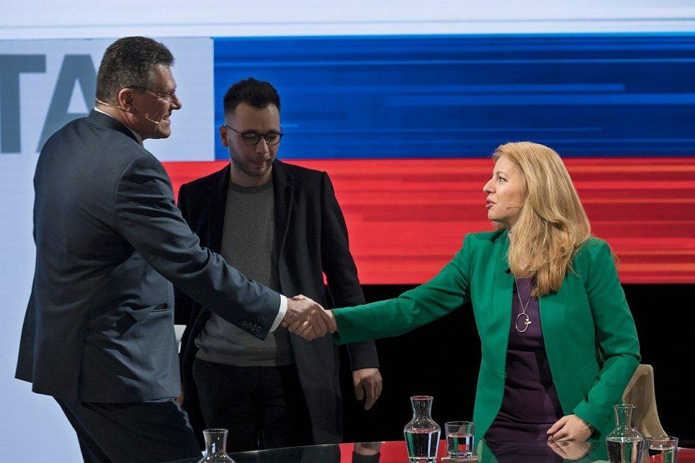 Maroš Šefčovič a Zuzana Čaputová v jedné z předvolebních debat