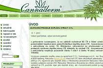 Webové stránky distribuční společnosti CANNABIS Pharma-derm