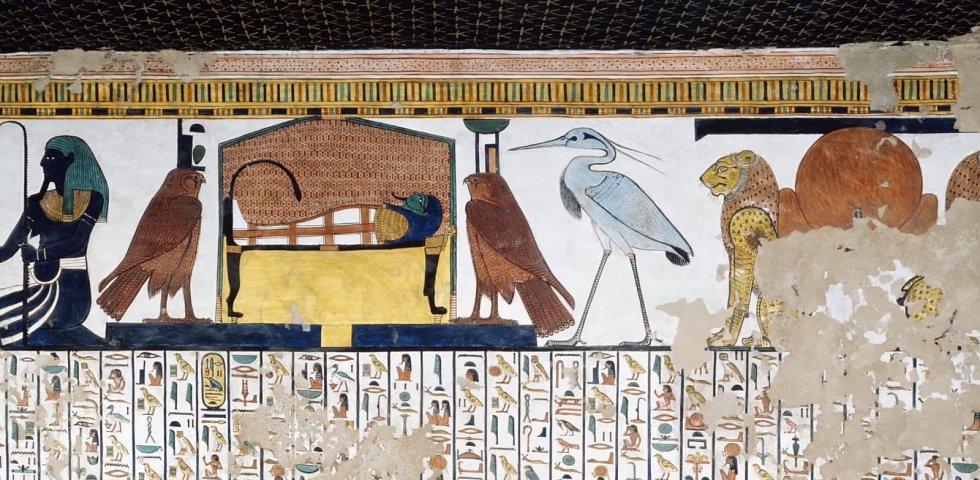 Ptáci se hojně objevují na starověkých egyptských freskách i v hieroglyfech
