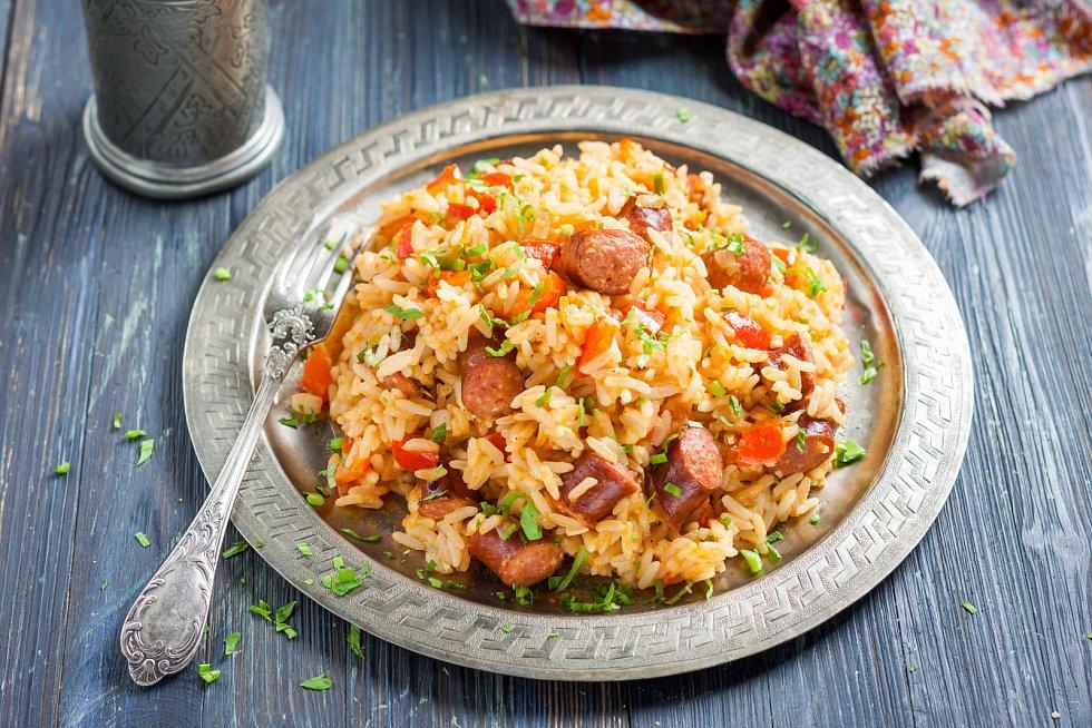 Rýže s čabajskou klobásou