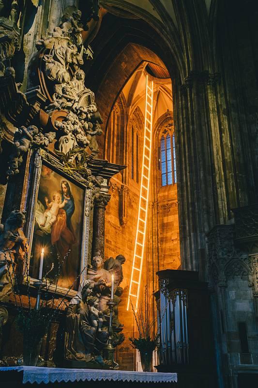 Vídeňskou katedrálu sv. Štěpána rozzářila nová světelná instalace ve tvaru nebeského žebříku. Dílo tamní současné umělkyně Billi Thannerové odkazuje na biblický příběh Jákoba symbolizující naději a cestu z hlubin současné pandemie.