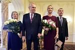 Ivana a Miloš Zemanovi a Monika a Andrej Babišovi v Lánech na novoročním obědě 2018
