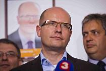 Tisková konference ČSSD jako vyjádření k výsledkům voleb, 11. října v Praze. Bohuslav Sobotka