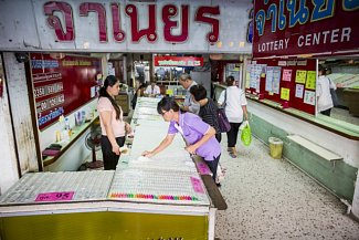 Prodej losů do thajské státní loterie, ilustrační foto