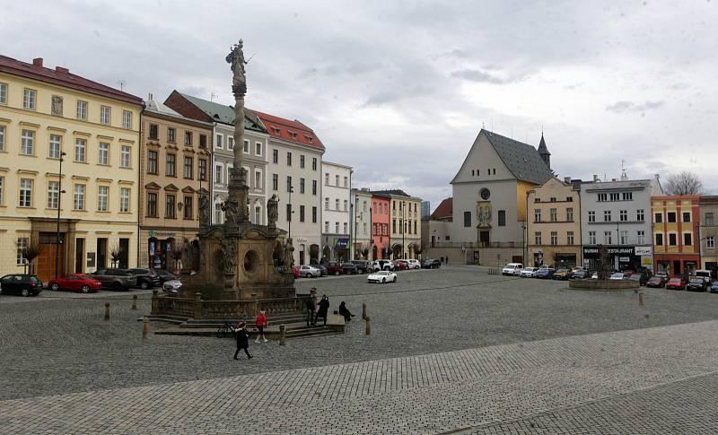 Prázdné centrum Olomouce v době vládních opatření