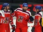 Česká hokejová reprezentace (v červeném) porazila v přípravném utkání ve Znojmě Finsko 4:1.