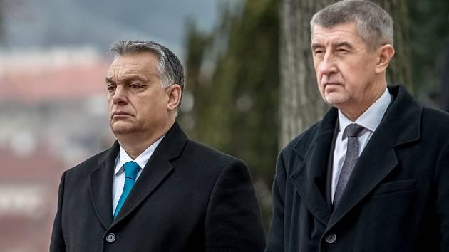 Premiér Andrej Babiš a jeho maďarský protějšek Viktor Orbán při dřívější návštěvě Prahy.