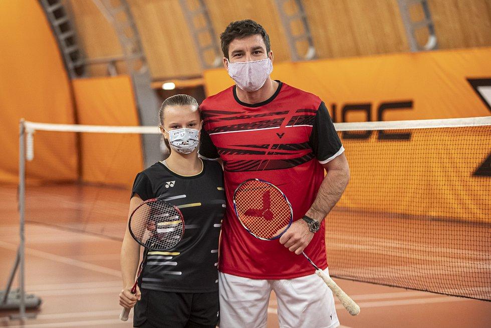 Petr Koukal a Barbora Bursová při tréninku v roušce 1. prosince v Praze.