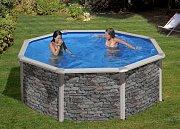 Bazén s fólií v imitaci kamene