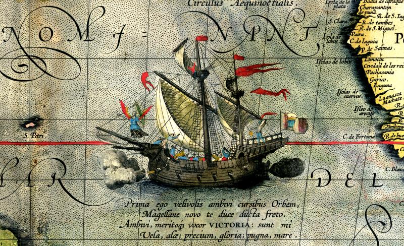 Detail mapy z roku 1590, zobrazující loď Victoria