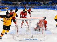 Radost hokejistů Německa po výhře nad Švýcarskem