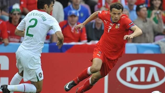 Češi prohrálí na ME s Portugalskem 1:3. Jediný český gól dal Libor Sionko (na snímku)