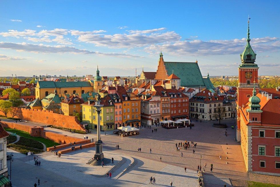 Varšava, pohled na staré město