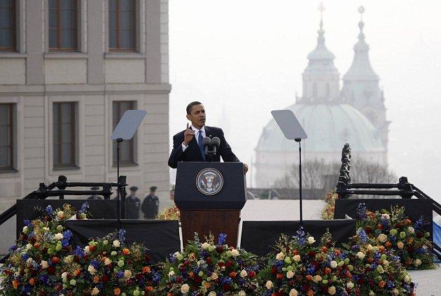 Barack Obama při svém projevu na Pražském hradě