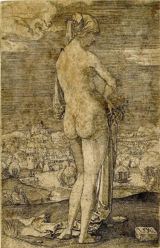 Rytina koupající se nahé ženy od Ludwiga Kruga