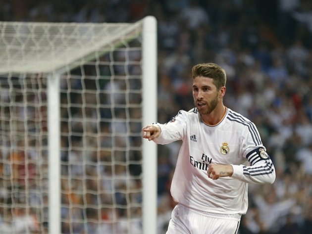 Sergio Ramos z Realu Madrid se raduje z gólu.