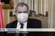 Prezident Miloš Zeman vystoupil v diskusním pořadu Partie, který 12. dubna 2020 odvysílala televize Prima