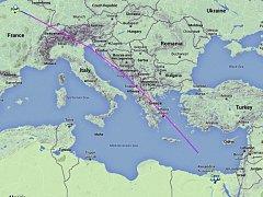 Mapa trasy letadla.