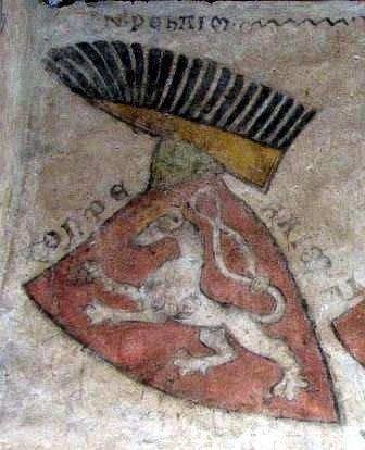 První známé barevné vyobrazení českého lva (nástěnná freska Gozzova paláce v Kremži, 70. léta 13. století)
