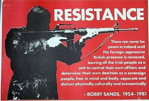 Plakát Irské republikánské armády z roku 1980, vyzývající k odporu proti Británii